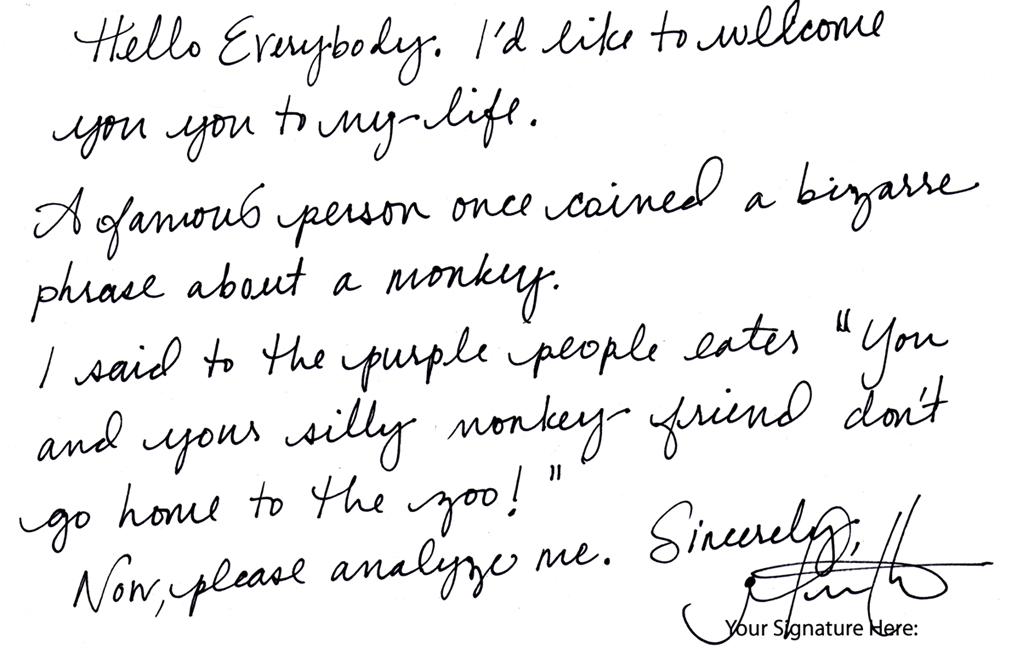 Analyze This Handwriting Sample Jennifer M Handwriting