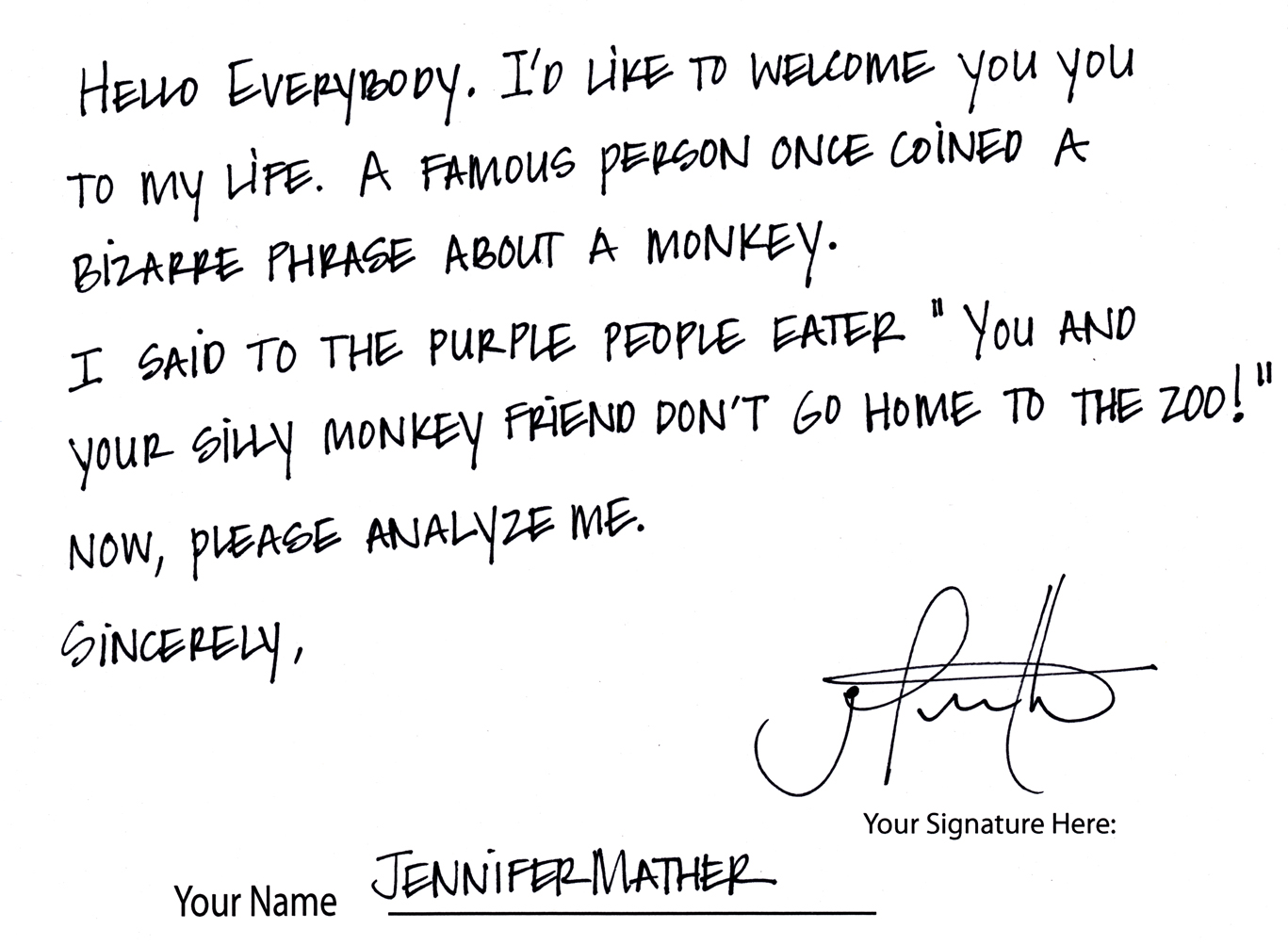 Jennifer M Cursive Handwriting Sample Download The Image File Here Or